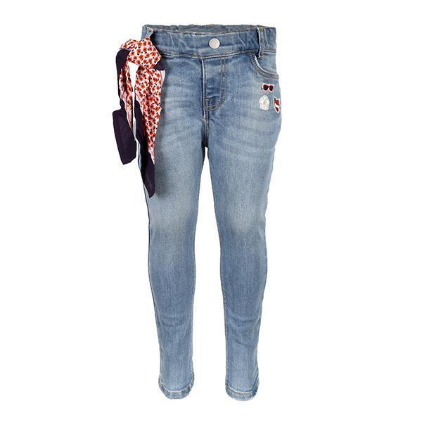 GIRLS DENIM BLUE APPLIQUE SLIM FIT TROUSER