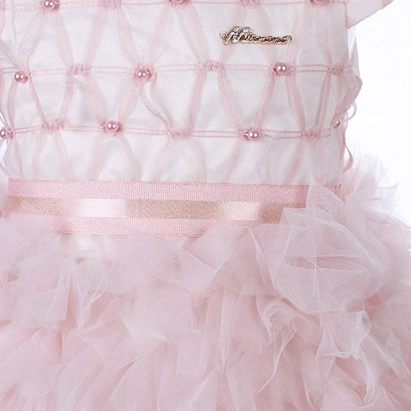 Girls Pink Tiered Ruffle Tulle Dress