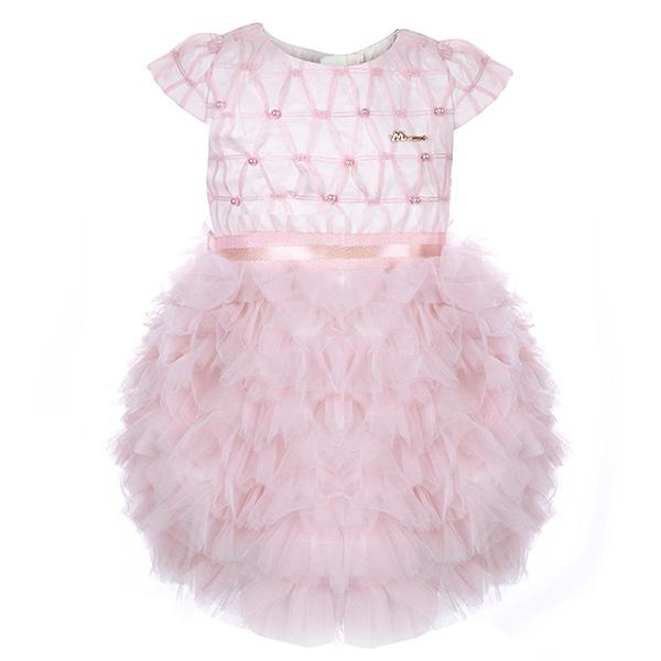 girls pink tiered ruffle tulle dress_ruffntumblekids