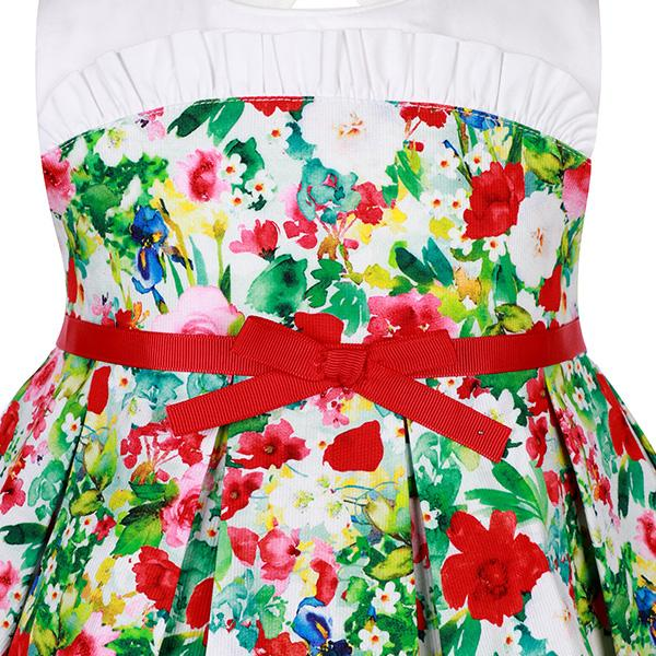 GIRLS MULTI-COLOR FLORAL FIT AND FLARE DRESS