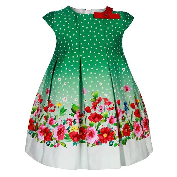 Girls Green Border Floral Dress