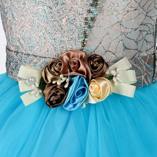 Girls Aqua Embellished Ball Dress