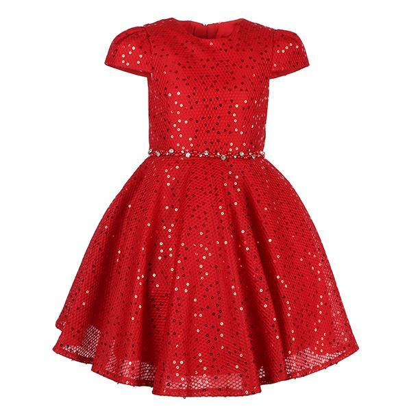 Girls Red Sequin Ball Dress