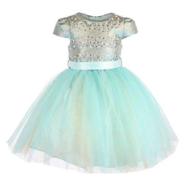 Girls Green Beaded Tulle Ball Dress