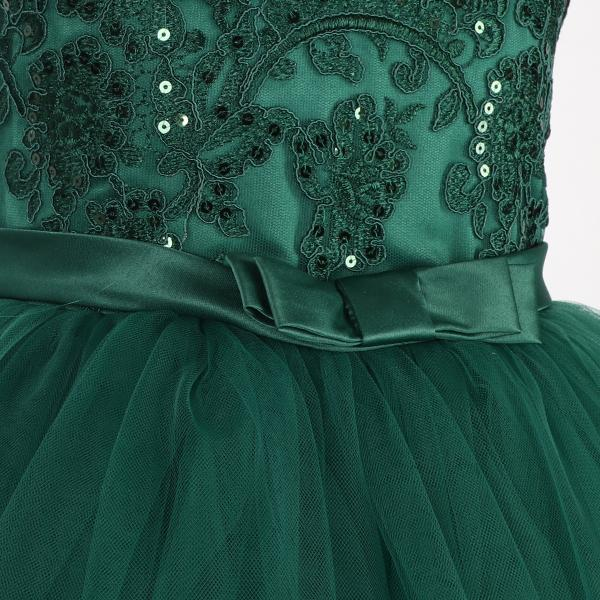 Girls Green Lace Insert Ball Dress