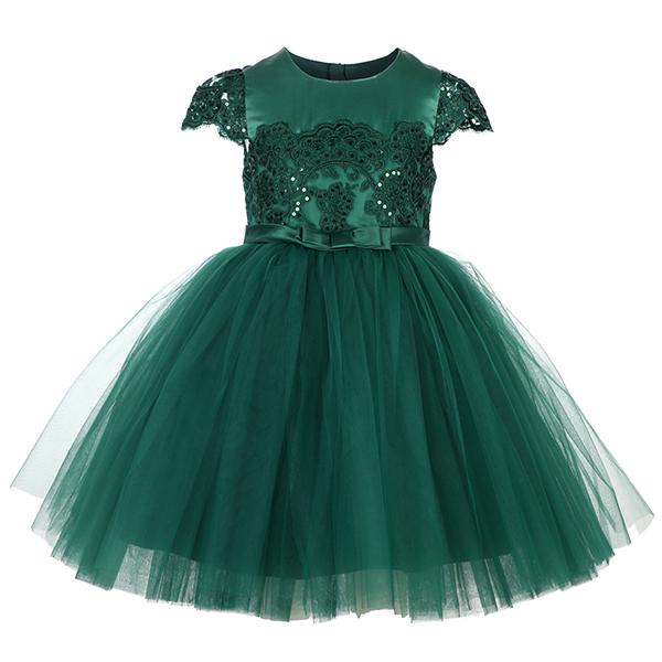 GIRLS GREEN LACE INSERT BALL DRESS - ruffntumblekids