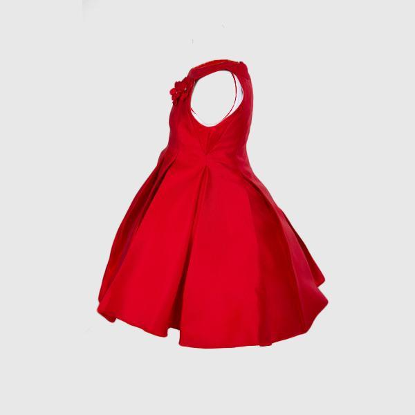 Red Pleated Taffeta Dress