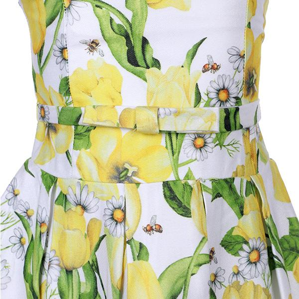 Girls Yellow Floral Pleat Dress - ruffntumblekids