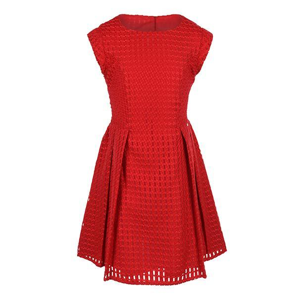 Red Check Organza Box Pleat Dress