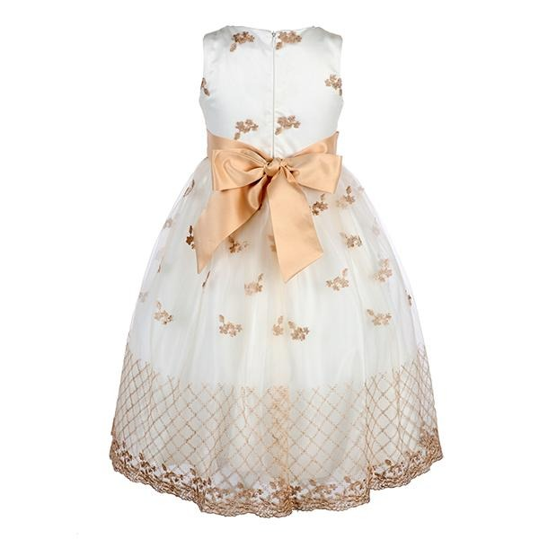 GIRLS WHITE EMBROIDERED LACE BALL DRESS