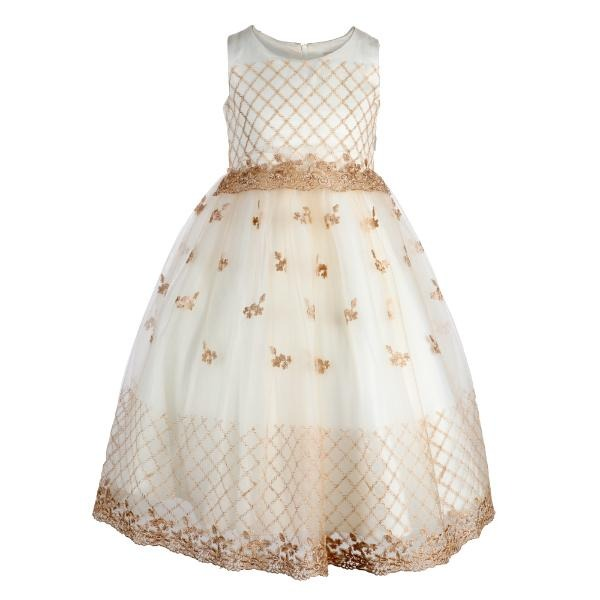 Girls White Embroidery Lace Ball Dress