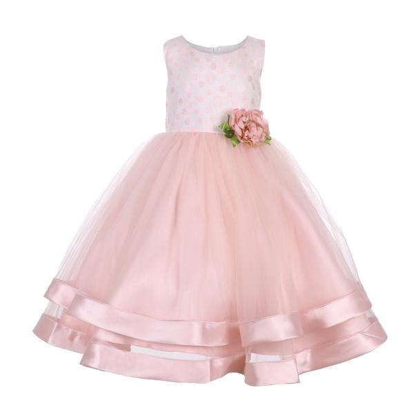 Girls Peach Dot Ball Dress