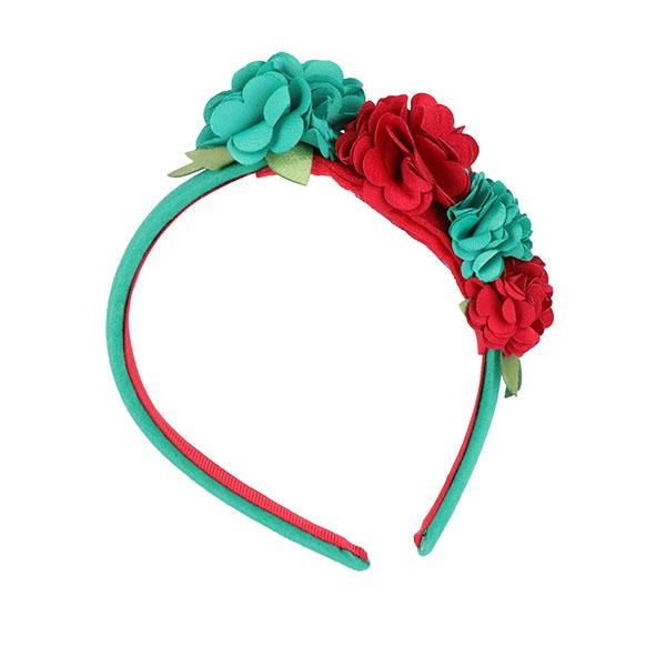 Girls Green Flower Headband - ruffntumblekids