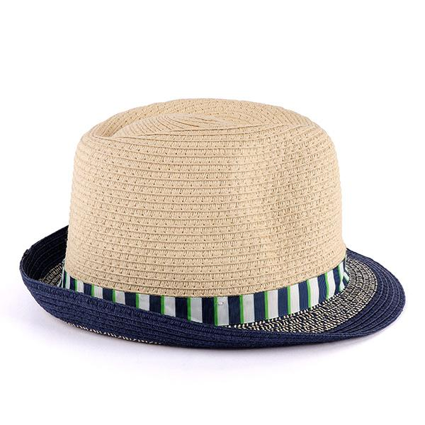 Boys Navy Striped Tape Fedora Hat