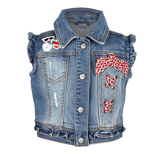 GIRLS DENIM EMBROIDERED JACKET - ruffntumblekids