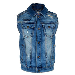 arm-less denim blue jacket-ruffntumble