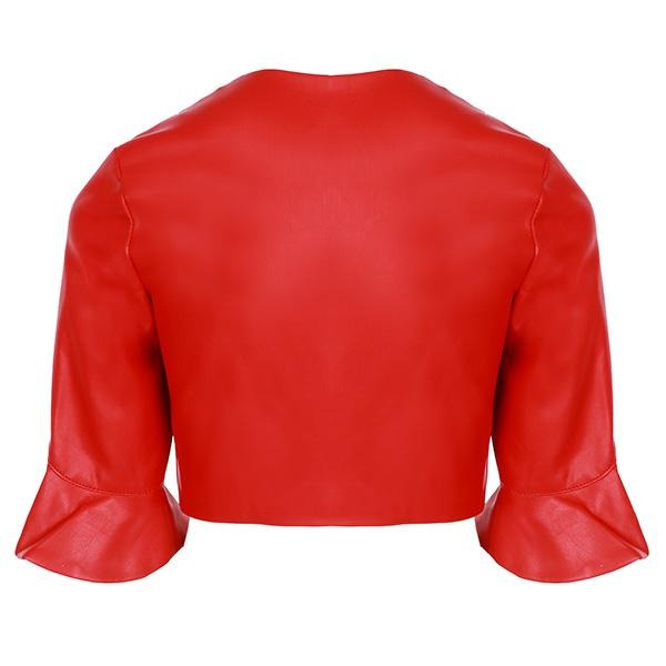 Red Leatherette Jacket - ruffntumblekids