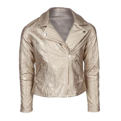 Girls Golden Zipper Leather Jacket