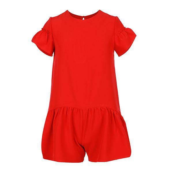 Red Crepe Playsuit