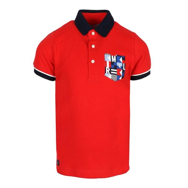 Boys Red Print Polo Tee