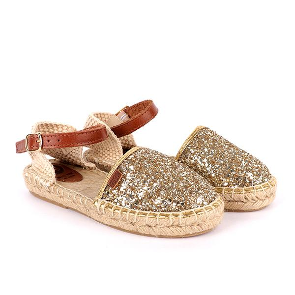GIRLS GOLD GLITTER ESPADRILLES SANDALS