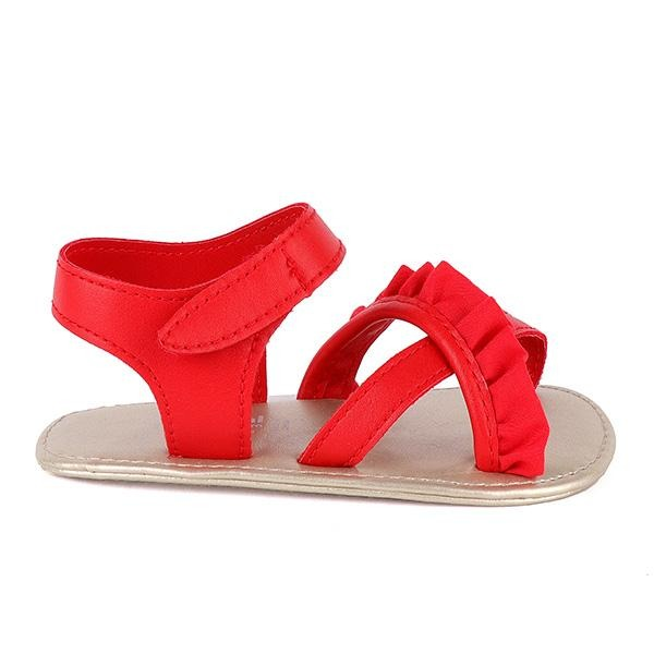 GIRLS RED FRILL VELCRO SANDALS