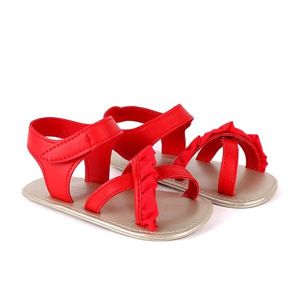 Girls red frill velcro sandals_ruffntumblekids