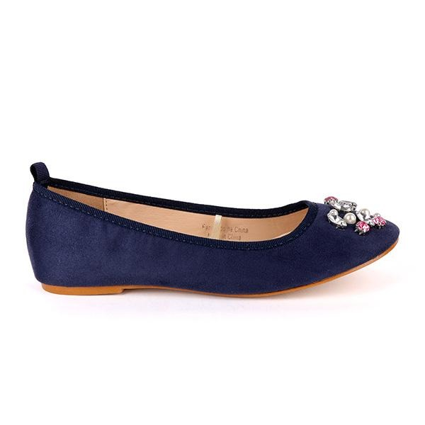 GIRLS NAVY BALLERINA WITH PEARLS AND STUDS