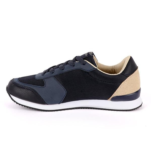 BOYS NAVY BLUE LACE-UP SNEAKERS