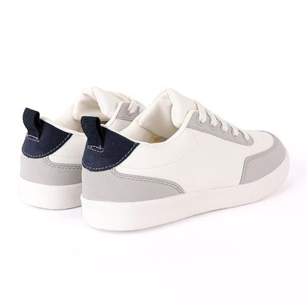 Boys White Lace-Up Sneakers
