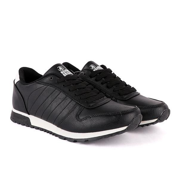 Boys Black Leather Lace-Up Sneakers