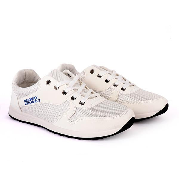 BOYS WHITE CASUAL LACE UP SNEAKERS