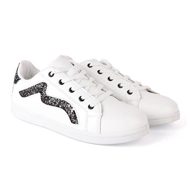 GIRLS WHITE LOW TOP SIDE GLITTER SNEAKERS