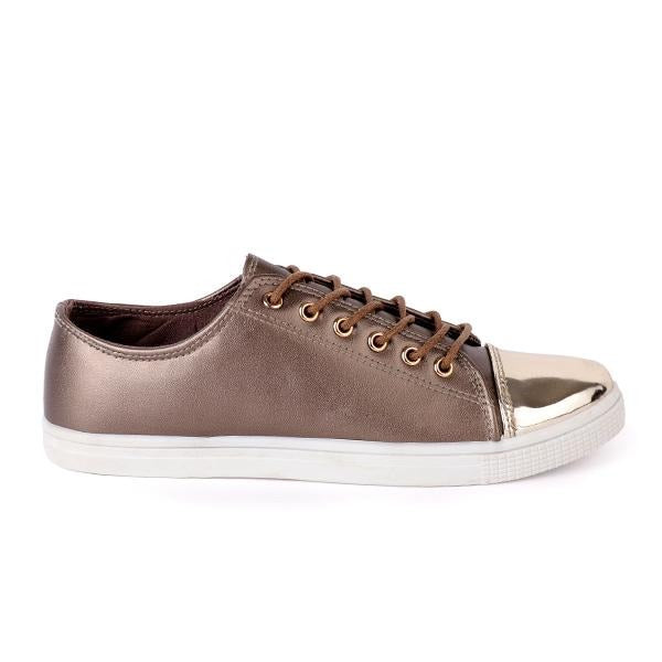 BIG Girls Bronze Lace-Up Casual Sneakers - ruffntumblekids