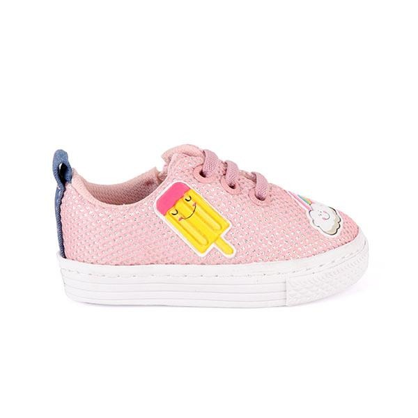 Girls Pink Embroidered Lace-Up Sneakers