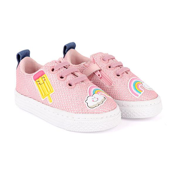 girls pink embroidered lace-up sneakers_ruffntumblekids