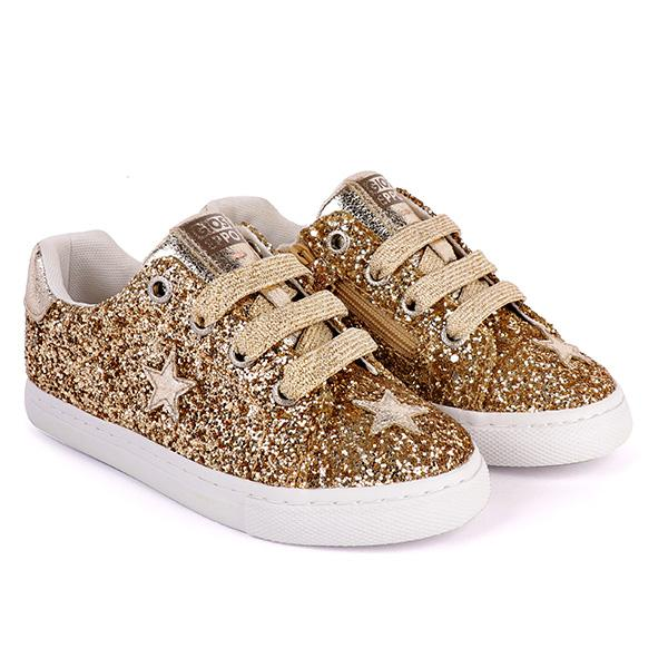 Girls gold superstar glitter sneakers_ruffntumblekids