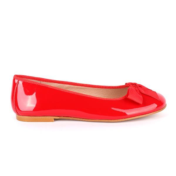 GIRLS RED BOW BALLERINA FLAT