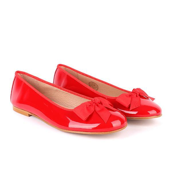 girls red bow ballerina flat_ruffntumblekids
