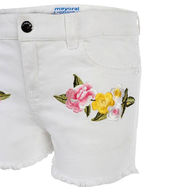 Girls White Floral Embroidered Short