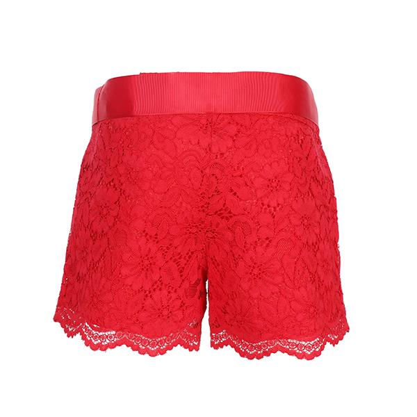 Girls Red Lace Bum Shorts