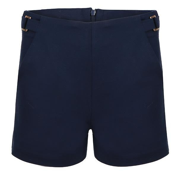 Girls navy casual satin shorts_ruffntumblekids