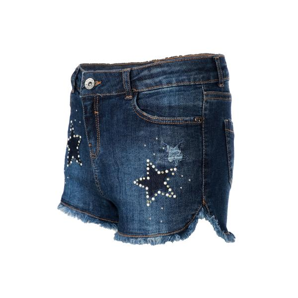 Girls Denim Star Embellished Bum Short