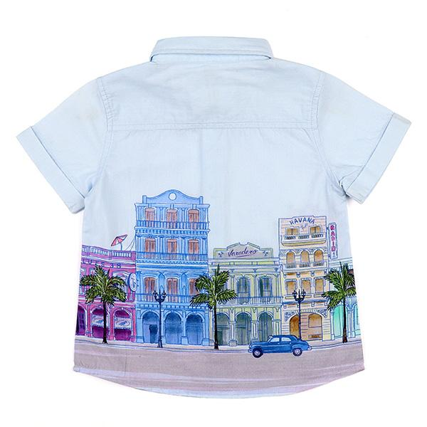 BOYS LIGHT BLUE LANDSCAPE PRINT SHIRT - ruffntumblekids