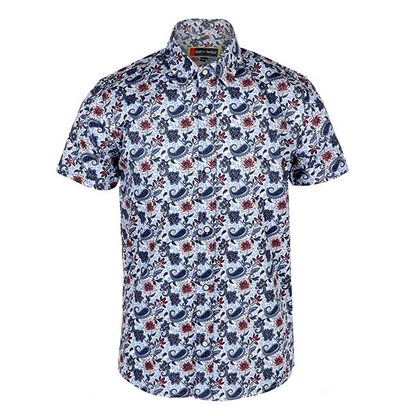 Boys Blue Floral Print Shirt