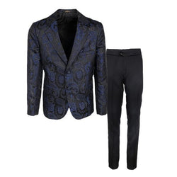 Boys Royal Blue Brocade Damask Tuxedo Suit (2PCS)