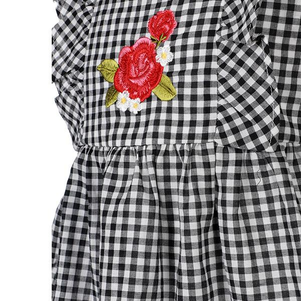 BABY GIRLS BLACK CHECK A-LINE BLOUSE - ruffntumblekids