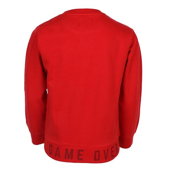 BOYS RED ROUND NECK LETTERING CARDIGAN