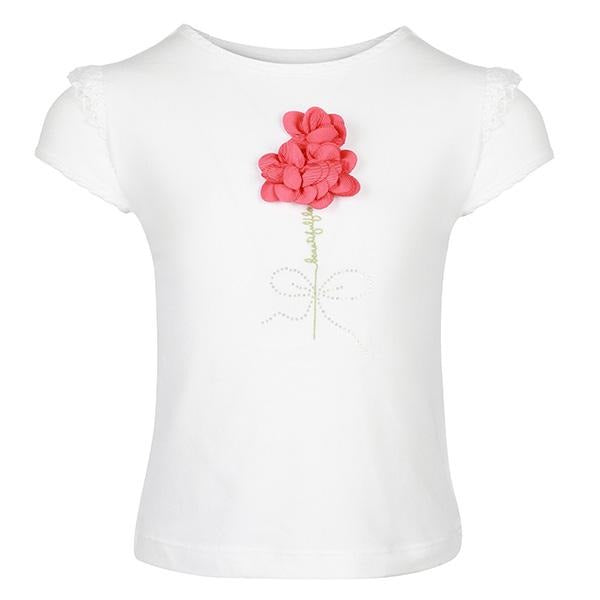 Girls White Floral Embroidered Tee