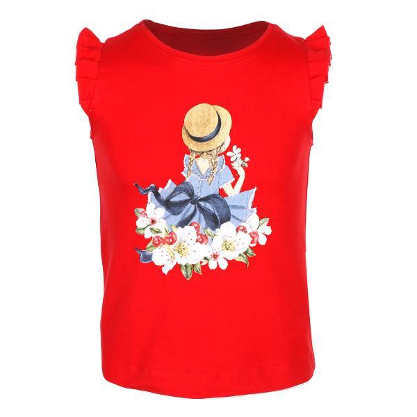 Girls Red Print Cotton T-Shirt